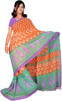 Jiya Self Design, Printed Daily Wear Poly Georgette Saree(Multicolor, Orange)
