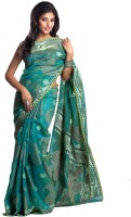 Kataan Bazaar Self Design Banarasi Handloom Cotton Saree(Green)