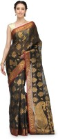 Bunkar Self Design Banarasi Cotton Saree(Black, Multicolor)