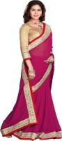 Sourbh Sarees Self Design Fashion Synthetic Georgette Saree(Magenta)