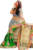 Welcome Fashion Self Design Bollywood Handloom Net Saree(Green, White)