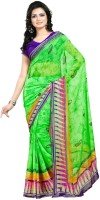 Cenizas Printed Fashion Georgette Saree(Green)