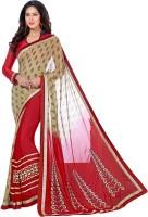 Vastrani Embroidered Fashion Georgette Saree(Beige, Red)
