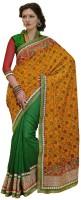 Bahubali Sarees Self Design Fashion Jacquard Saree(Orange, Green)