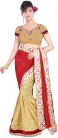 Welcome Fashion Embroidered Fashion Handloom Chiffon, Brasso Saree(Red, Beige)