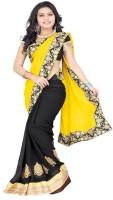 Patankar Fab Self Design Fashion Brasso Saree(Black)