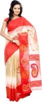 B3Fashion Self Design Kosa Handloom Tussar Silk Saree(Beige, Red)