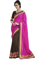 Melluha Embroidered Fashion Georgette Saree(Brown)