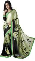 Jiya Self Design, Printed Fashion Satin Blend, Chiffon Saree(Multicolor, Green, Black)