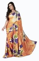 Khoobee Floral Print Fashion Poly Georgette Saree(Multicolor, Orange)