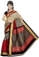 Jiya Self Design, Printed Fashion Poly Silk Saree(Multicolor, Red, Black, Beige)
