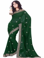 Sourbh Sarees Self Design Fashion Synthetic Georgette Saree(Dark Green)