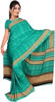 Jiya Self Design, Printed Daily Wear Poly Crepe, Poly Silk Saree(Green, Beige)