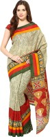 Fostelo Self Design Daily Wear Cotton Saree(Beige)