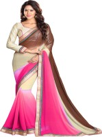 Sourbh Sarees Self Design Fashion Chiffon Saree(Brown, Pink)