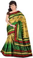 Patankar Fab Printed Bollywood Khadi Saree(Green)