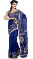 B3Fashion Woven Tant Handloom Silk Cotton Blend Saree(Blue, Beige)