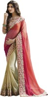 Saara Embroidered Fashion Chiffon Saree(Pink, Beige)