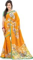 Lookslady Floral Print Fashion Georgette Saree(Orange)