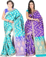 Indi Wardrobe Woven Banarasi Handloom Banarasi Silk Saree(Pack of 2, Blue, Blue)
