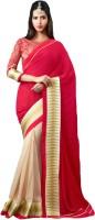 Admyrin Solid, Self Design Fashion Georgette Saree(Red)