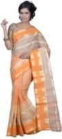 Hawai Self Design Tant Silk Saree(Beige, Orange)