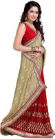 Jiya Self Design, Embroidered Fashion Cotton Blend, Poly Georgette Saree(Red, Beige)