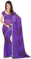 Lookslady Floral Print Fashion Georgette Saree(Purple)