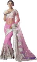Ishin Embroidered Fashion Net Saree(Pink)
