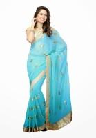 Dancing Girl Printed Bollywood Georgette Saree(Blue)