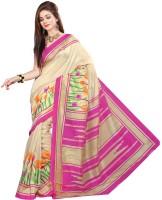 Khoobee Printed Fashion Poly Silk Saree(Pink, Beige)