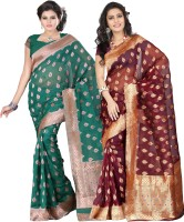 Its Banii Woven Banarasi Handloom Banarasi Silk Saree(Pack of 2, Green, Maroon)