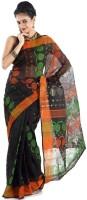 Hawai Self Design Tant Cotton Saree(Black)