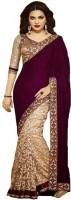 Aksh Fashion Embroidered Fashion Georgette, Velvet Saree(Maroon, Gold)