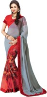 Indianbeauty Printed, Solid Bollywood Pure Georgette Saree(Grey, Red)
