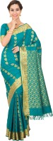 Thara Sarees Self Design Kanjivaram Art Silk Saree(Green)