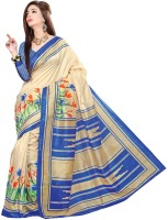 Jiya Self Design, Printed Fashion Poly Silk Saree(Blue, Beige)