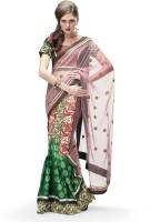 MAHOTSAV Self Design Lehenga Saree Net Saree(Red, Green)