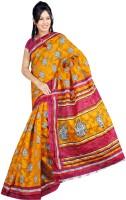 Khoobee Printed Bhagalpuri Cotton Blend Saree(Orange, Yellow)