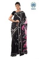 Tantuja Self Design Murshidabad Handloom Silk Saree(Black)