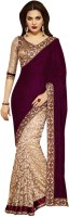 Aksh Fashion Solid Bollywood Velvet Saree(Maroon)