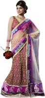 Bahubali Sarees Self Design Lehenga Saree Jacquard Saree(White, Pink)
