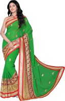 Khoobee Self Design, Embroidered, Embellished Fashion Poly Georgette Saree(Red, Green, Beige)
