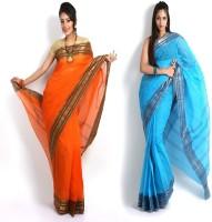Purabi Self Design Tant Handloom Cotton Saree(Pack of 2, Orange, Blue)