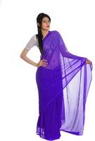 Aaradhya Fashion Printed Leheria Handloom Georgette Saree(Blue)