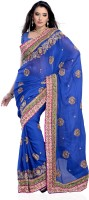 JTInternational Self Design Fashion Georgette Saree(Dark Blue)