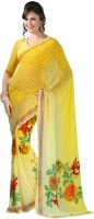 Vaamsi Printed Daily Wear Georgette Saree(Yellow)