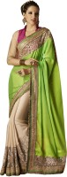 Desi Butik Self Design Fashion Chiffon Saree(Green)