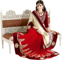 Triveni Printed Lehenga Saree Net Saree(Red)