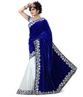 Mert India Solid Fashion Velvet Saree(Blue)
